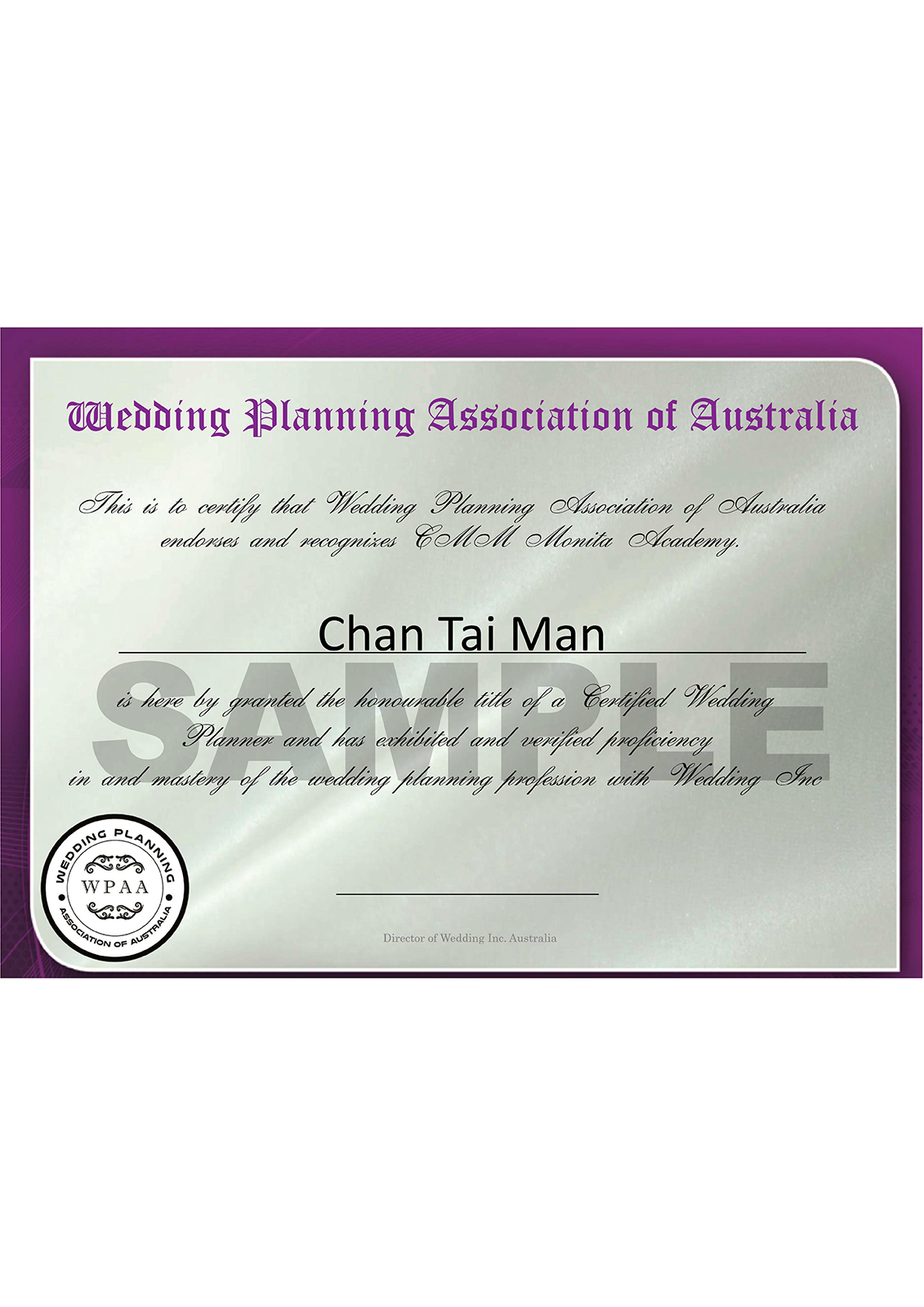 AUSTRALIA CERT (Wedding)