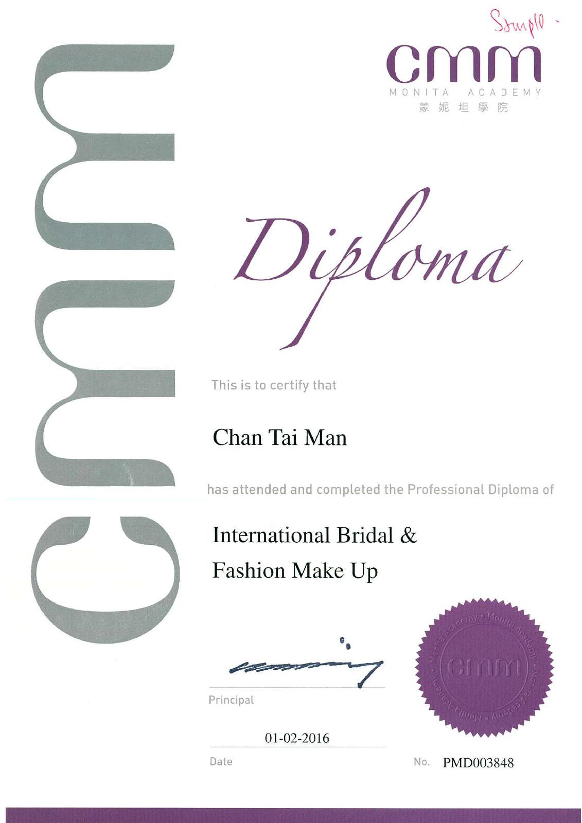 cmm_Bridal_MakeUp diploma