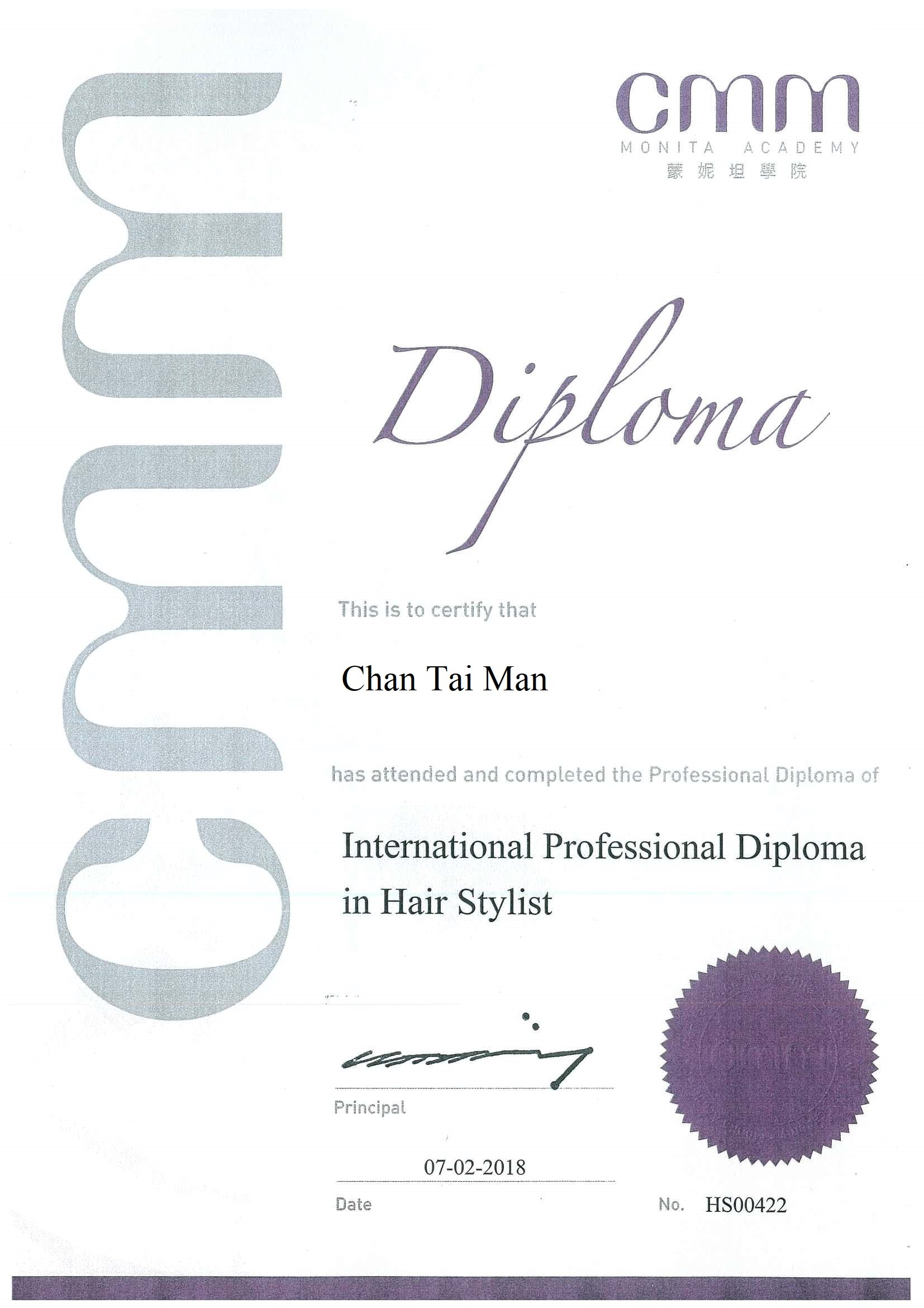 International Professional Diploma in Hair Stylist