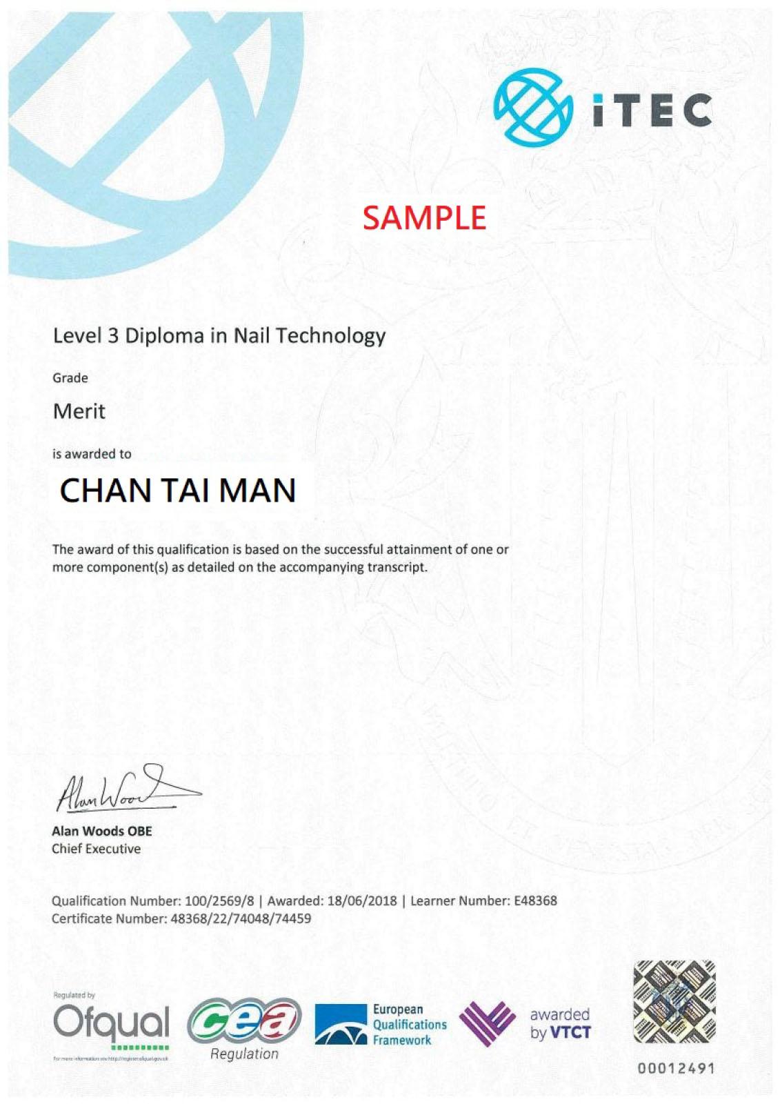 英國ITEC國際⾼高級甲藝術技術⽂文憑(三級)