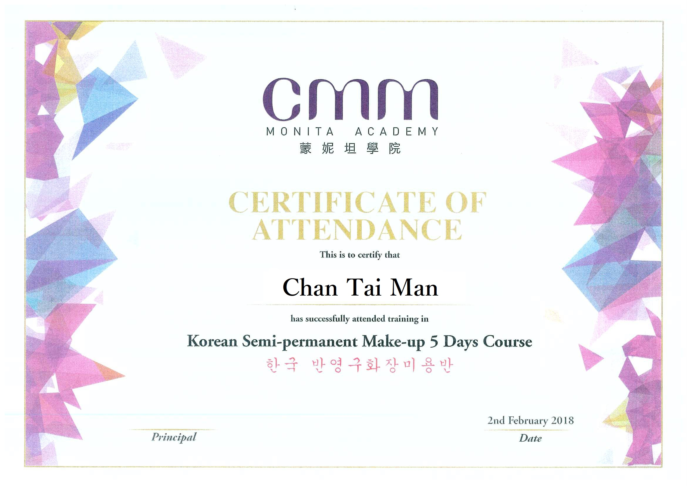 CMM - korean Semi permanant Make-up 5 Day course