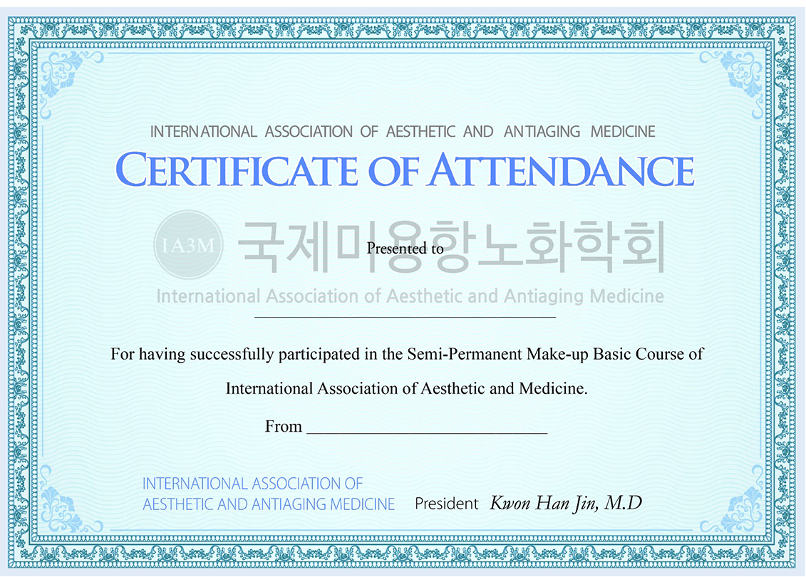 Certificate of Attendance in Korean Semi-permanent Make-ip Course