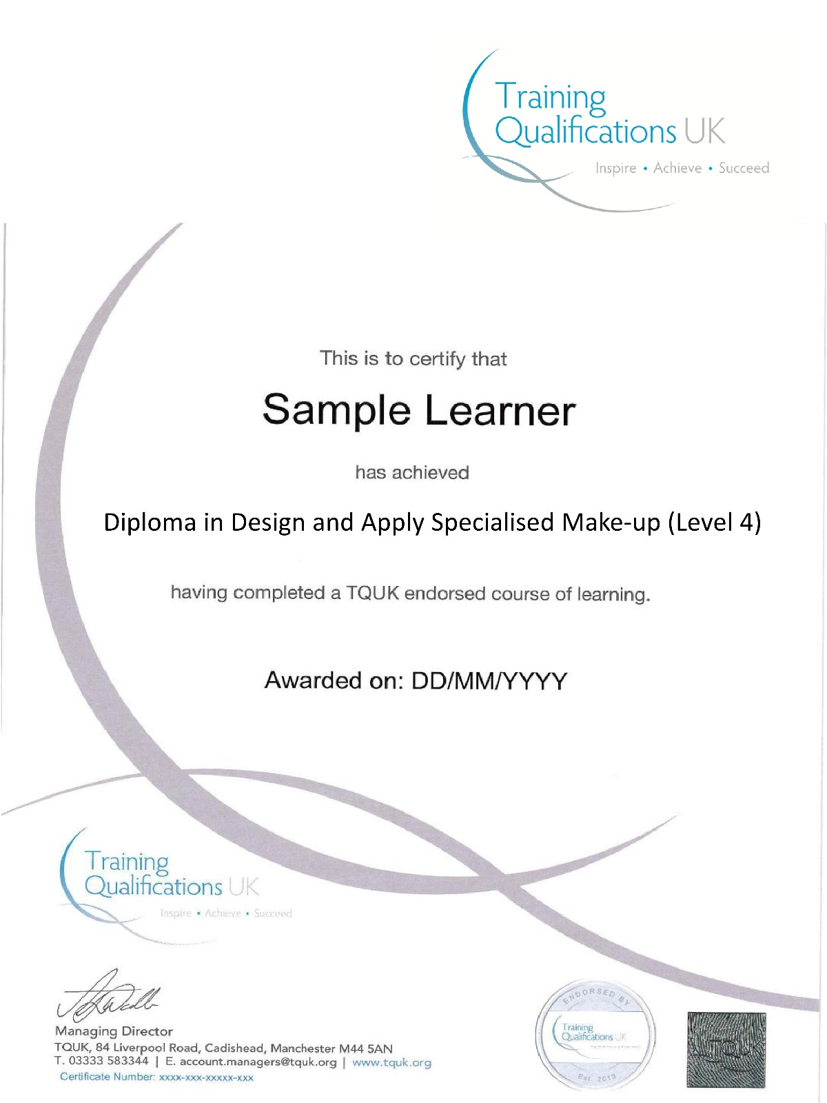 TQUK Diploma in Design and Applied Specialised Make Up (level 4)