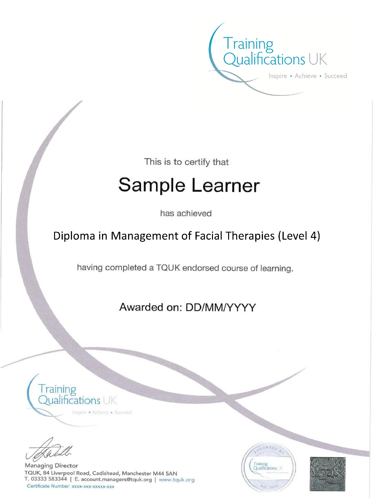 TQUK Diploma in Management of Facial Therapies ( Level 4)